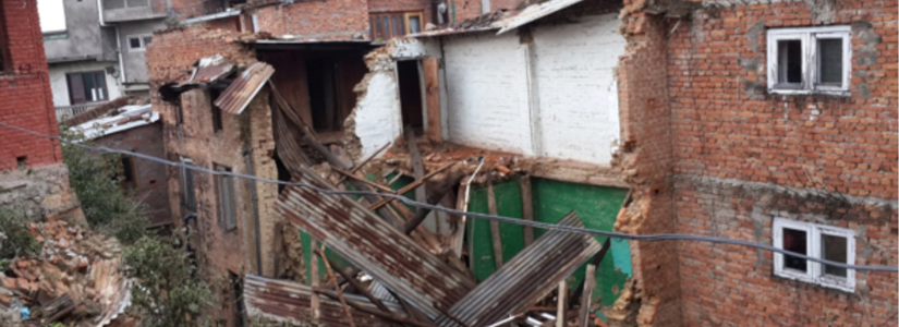photo of damage to Nepal homes as a result of the April 25, 2015 earthquake