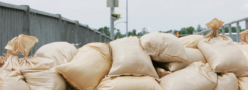 photo of piled sand bags