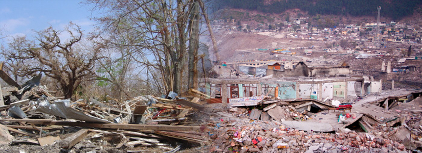 photo collage showing two disaster scenes of devastated homes