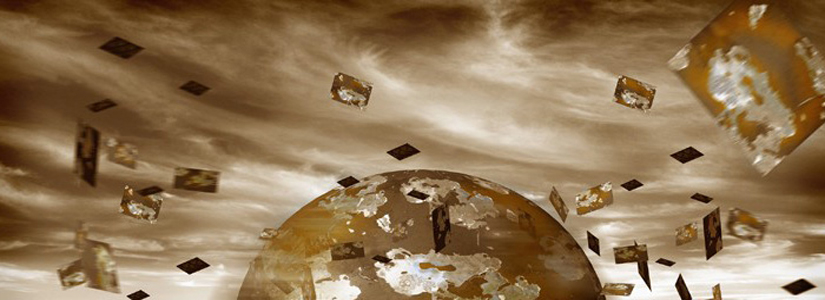 composite image of dark clouds, the planet and items swirling to denote the chaos surrounding a disaster